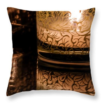 Candle Reflections Throw Pillow