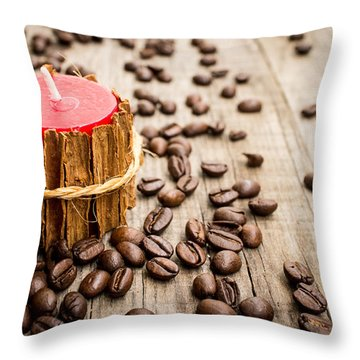 Candle Wrapped In Cinnamon  Throw Pillow