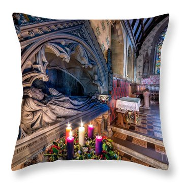 Candles At Christmas Throw Pillow by Adrian Evans