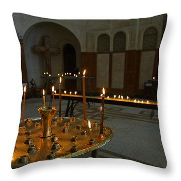 Candles Inside The Tsminda Sameba Cathedral Tbilisi Throw Pillow by Robert Preston