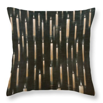 Candles On The Lake Udaipur India Throw Pillow by Lincoln Seligman