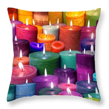 Candles Rainbow Colours Throw Pillow by Alixandra Mullins