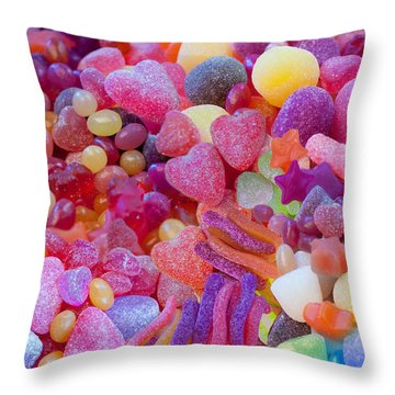 Candlyland Gumdrops Throw Pillow by Alixandra Mullins