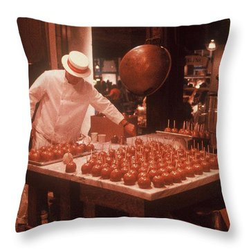 Throw Pillow featuring the photograph Candy Apple Man by Rodney Lee Williams