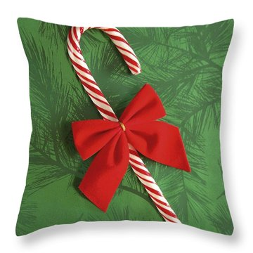 Candy Cane Throw Pillow by Colette Scharf