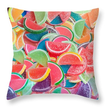 Candy Fruit Throw Pillow by Alixandra Mullins