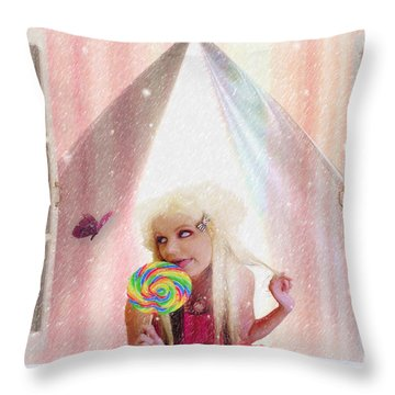 Throw Pillow featuring the digital art Candy Kisses by Liane Wright