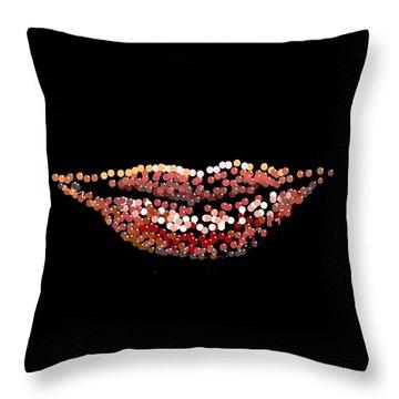 Throw Pillow featuring the digital art Candy Lips by R  Allen Swezey