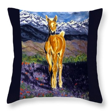 Candy Rocky Mountain Palomino Colt Throw Pillow by Jackie Carpenter