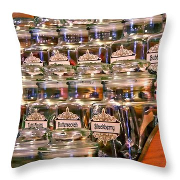 Candy Stick Store-color Throw Pillow