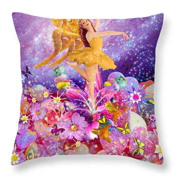 Candy Sugarplum Fairy Throw Pillow by Alixandra Mullins