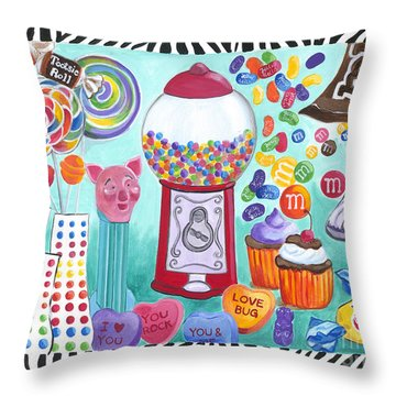 Throw Pillow featuring the painting Candy Window by Carla Bank