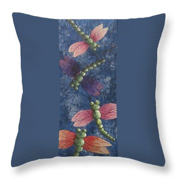 Throw Pillow featuring the painting Candy-winged Dragons by Megan Walsh
