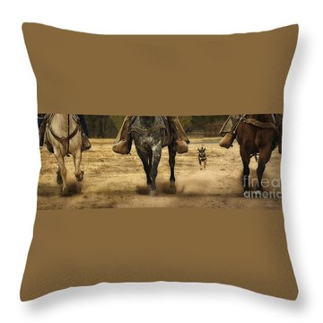 Canine Verses Equine Throw Pillow by Priscilla Burgers