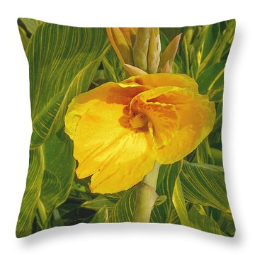 Canna Lily Artified Throw Pillow