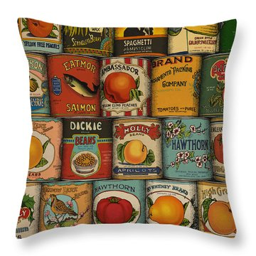 Throw Pillow featuring the drawing Canned by Meg Shearer