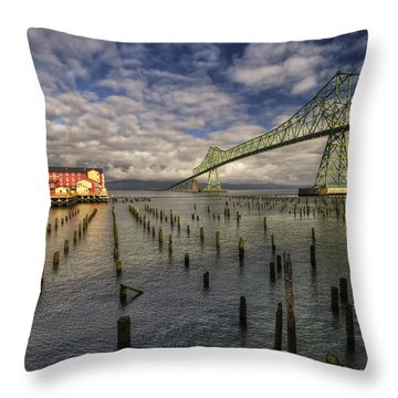 Cannery Pier Hotel And Astoria Bridge Throw Pillow