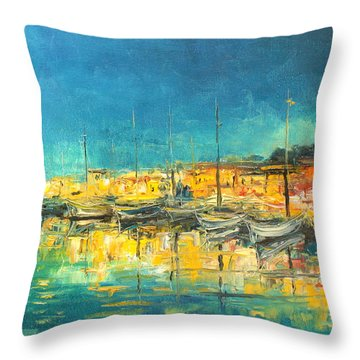 Cannes By Night Throw Pillow