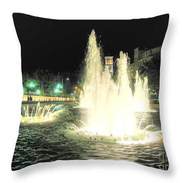 Throw Pillow featuring the pyrography Cannes Night by Yury Bashkin