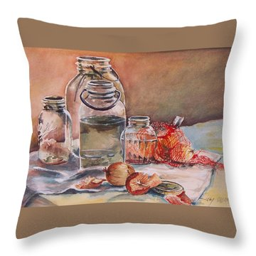 Throw Pillow featuring the painting Canning Jars And Onions by Joy Nichols