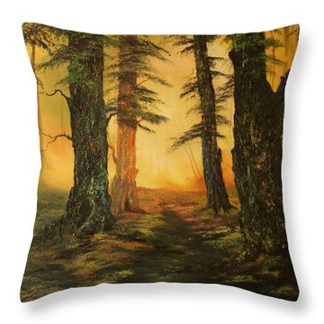 Cannock Chase Forest In Sunlight Throw Pillow by Jean Walker