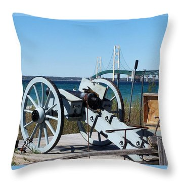 Cannon And Bridge Throw Pillow by Keith Stokes