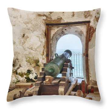 Throw Pillow featuring the photograph Cannon At Fort San Felipe Del Morro by Bryan Mullennix