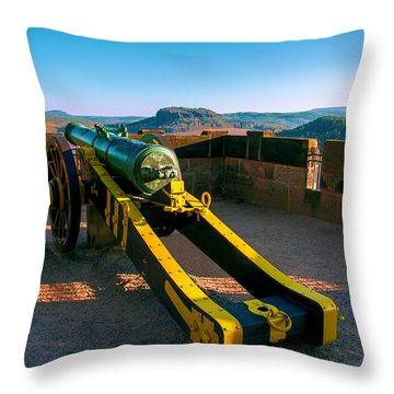 Cannon At The Fortress Koenigstein Throw Pillow