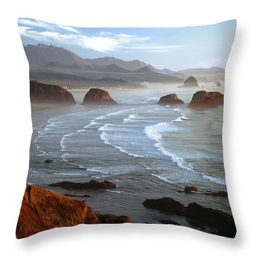 Cannon Beach At Sunset Throw Pillow