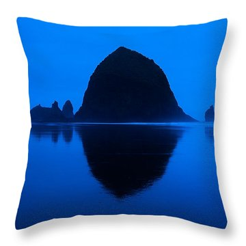 Cannon Beach Blue Throw Pillow