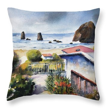 Throw Pillow featuring the painting Cannon Beach Cottage by Marti Green