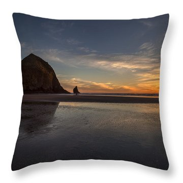 Cannon Beach Dusk Conclusion Throw Pillow by Mike Reid