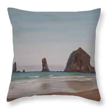 Throw Pillow featuring the painting Cannon Beach Haystack Rock by Ian Donley