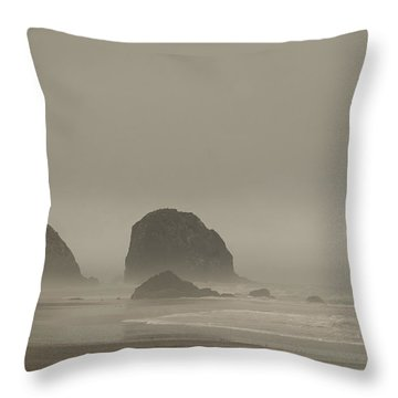 Cannon Beach In A Fog Oregon Throw Pillow