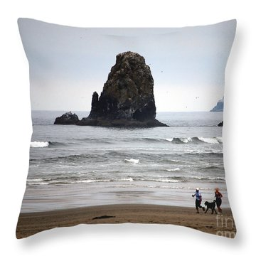 Cannon Beach Run Throw Pillow