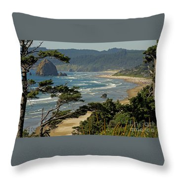 Throw Pillow featuring the photograph Cannon Beach Seascape by Nick  Boren
