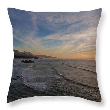 Cannon Beach Sunset Throw Pillow by Mike Reid