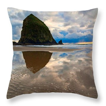 Cannon Beach With Storm Clouds In Oregon Coast Throw Pillow by Jamie Pham
