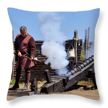 Cannon Firing At Fountain Of Youth Fl Throw Pillow by Christine Till