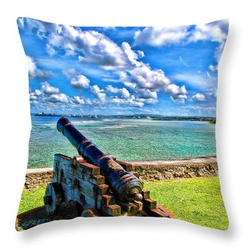 Cannon In The Pacific Throw Pillow