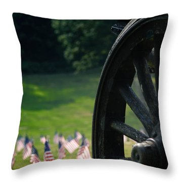 Cannon Memorial With American Flags Throw Pillow by Amy Cicconi