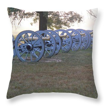 Throw Pillow featuring the photograph Cannon's In Fog by Michael Porchik