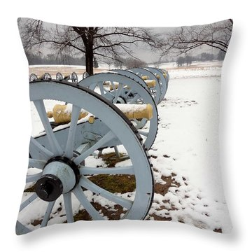 Cannon's In The Snow Throw Pillow