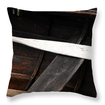 Canoe And Oar Throw Pillow by Mary Carol Story