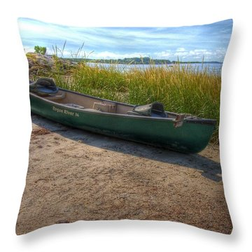 Canoe At Cedar Key Throw Pillow