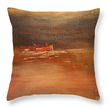 Canoe At Dusk Throw Pillow