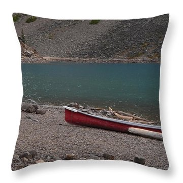 Canoe At Moraine Lake Throw Pillow by Cheryl Miller