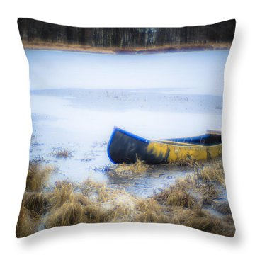 Canoe At The Frozen Lake Throw Pillow
