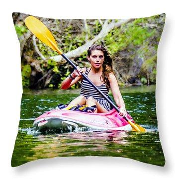 Canoe For Girls Throw Pillow by Sotiris Filippou