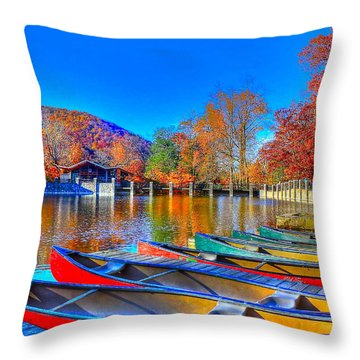 Canoe In Waiting Throw Pillow